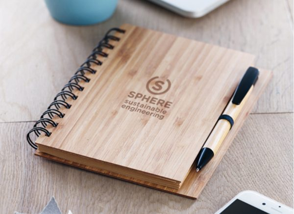 Branded bamboo notebook
