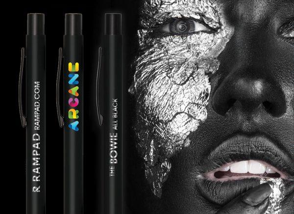 all black bowie promotional pens